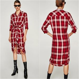 Zara Red White Plaid Button Knotted Shirt Dress